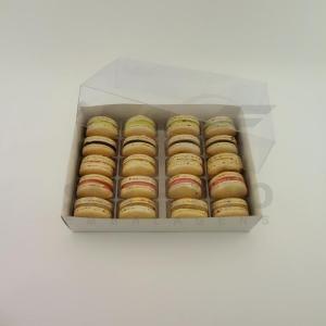 Caixa para 20 Macarons com Berço Ref. M20BCB Branco - 14,5x20,5x5cm - 1 Unidade - San Felipo Rizzo Confeitaria
