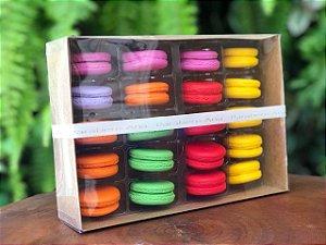 Caixa para 20 Macarons com Berço Ref. M20BCK Kraft - 14,5x20,5x5cm - 1 Unidade - San Felipo Rizzo Confeitaria