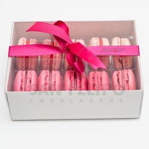 Caixa para 10 Macarons com Berço Ref. M10BCB Branco - 10,5x14,5x5cm - 1 Unidade - San Felipo Rizzo Confeitaria