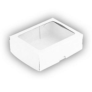 Caixa para 10 Doces com Visor S2 Branca - 9cm x 13,5cm x 4cm - 10 unidades - Assk Rizzo Confeitaria