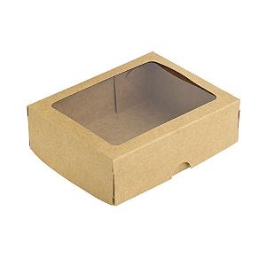 Caixa com Visor S2 Kraft - 9cm x 13,5cm x 4cm - 10 unidades - Assk Rizzo Confeitaria