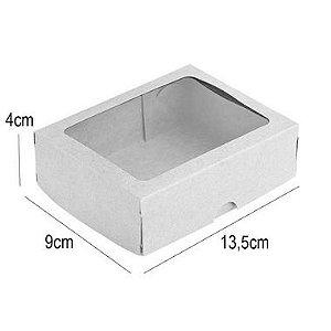 Caixa para 10 Doces com Visor S2 Kraft - 9cm x 13,5cm x 4cm - 10 unidades - Assk Rizzo Confeitaria