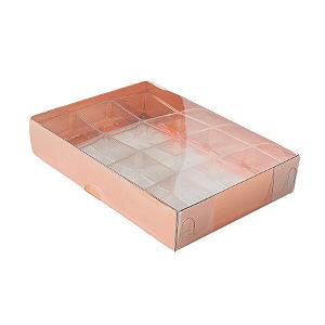 Caixa para 12 Doces com Berço Tampa Transparente Nº 2 Bronze - 15,5cm x 11,5cm x 3cm - 10 unidades - Assk Rizzo Confeitaria