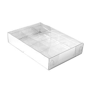 Caixa para 12 Doces com Berço Tampa Transparente Nº 2 Prata - 15,5cm x 11,5cm x 3cm - 10 unidades Assk Rizzo Confeitaria