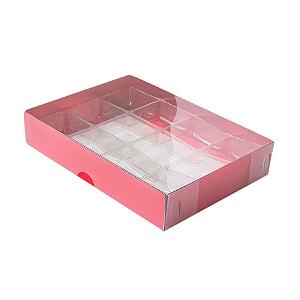 Caixa para 12 Doces com Berço Tampa Transparente Nº 2 Vermelha - 15,5cm x 11,5cm x 3cm - 10 unidades Assk Rizzo Confeitaria