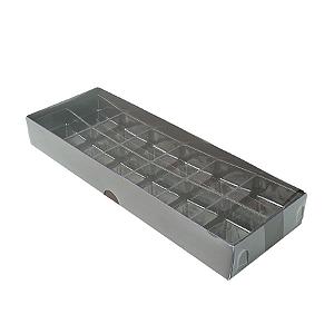 Caixa para 12 Doces com Berço Tampa Transparente Nº 3 Marrom - 23cm x 8,5cm x 3cm - 10 unidades Assk Rizzo Confeitaria