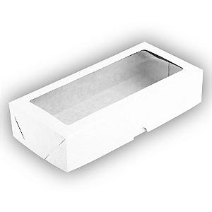 Caixa para 12 Doces com Visor S12 Branca - 9cm x 19cm x 4cm - 10 unidades Assk Rizzo Confeitaria