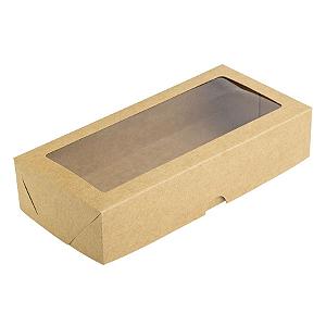 Caixa para 12 Doces com Visor S12 Kraft - 9cm x 19cm x 4cm - 10 unidades Assk Rizzo Confeitaria