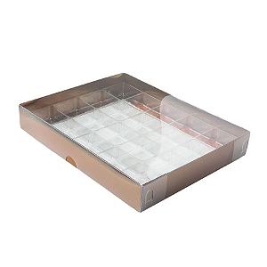 Caixa para 20 Doces com Berço Tampa Transparente Nº 1 Bronze - 19,5cm x 15,5cm x 3cm - 10 unidades Assk Rizzo Confeitaria