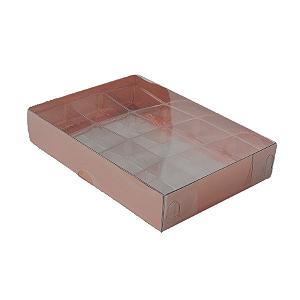 Caixa para 20 Doces com Berço Tampa Transparente Nº 1 Cobre - 19,5cm x 15,5cm x 3cm - 10 unidades Assk Rizzo Confeitaria