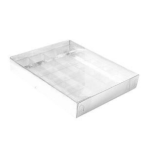 Caixa para 20 Doces com Berço Tampa Transparente Nº 1 Prata - 19,5cm x 15,5cm x 3cm - 10 unidades Assk Rizzo Confeitaria