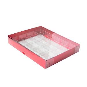 Caixa para 20 Doces com Berço Tampa Transparente Nº 1 Vermelha - 19,5cm x 15,5cm x 3cm - 10 unidades Assk Rizzo Confeitaria
