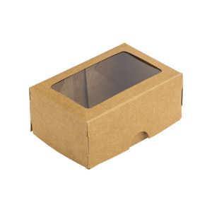 Caixa para 2 Doces com Visor S1 Kraft - 6cm x 9cm x 4cm - 10 unidades Assk Rizzo Confeitaria