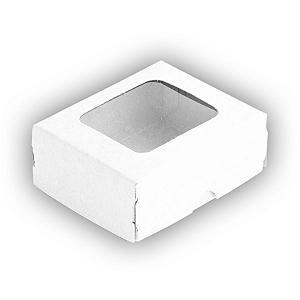 Caixa para 4 Doces com Visor S0 Branca - 6cm x 5cm x 2,5cm - 10 unidades Assk Rizzo Confeitaria