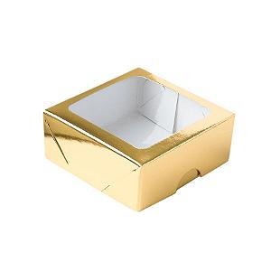 Caixa para 4 Doces com Visor S11 Dourado - 9cm x 9cm x 4cm - 10 unidades Assk Rizzo Confeitaria
