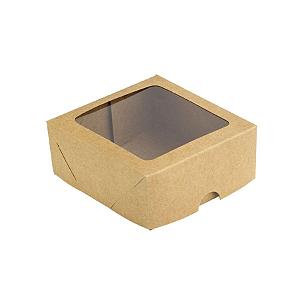 Caixa para 4 Doces com Visor S11 Kraft - 9cm x 9cm x 4cm - 10 unidades Assk Rizzo Confeitaria