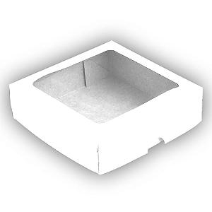 Caixa para 9 Doces com Visor S3 Branca - 14cm x 14cm x 4cm -  10 unidades Assk Rizzo Confeitaria