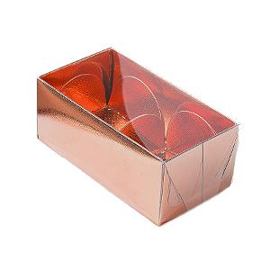 Caixa para 2 Doces com Tampa Transparente Nº 2 Cobre - 8,5cm x 4cm x 3,5cm - 10 unidades Assk Rizzo Confeitaria