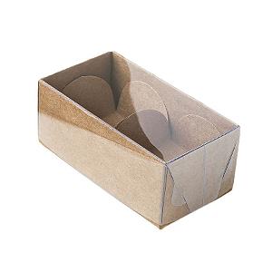 Caixa para 2 Doces com Tampa Transparente Nº 2 Kraft - 8,5cm x 4cm x 3,5cm - 10 unidades Assk Rizzo Confeitaria