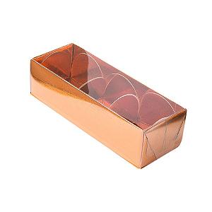 Caixa para 3 Doces com Tampa Transparente Nº 3 Cobre - 12cm x 4,5cm x 3,5cm - 10 unidades Assk Rizzo Confeitaria