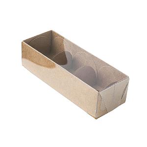 Caixa para 3 Doces com Tampa Transparente Nº 3 Kraft -12cm x 4,5cm x 3,5cm - 10 unidades Assk Rizzo Confeitaria