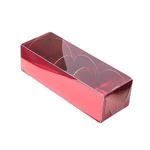 Caixa para 3 Doces com Tampa Transparente Nº 3 Vermelha - 12cm x 4,5cm x 3,5cm - 10 unidades Assk Rizzo Confeitaria