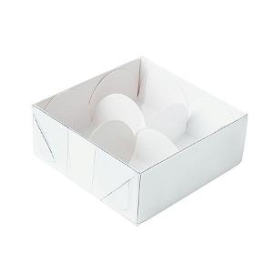 Caixa para 4 Doces com Tampa Transparente Nº 4 Branca - 8cm x 8cm x 3,5cm - 10 unidades Assk Rizzo Confeitaria