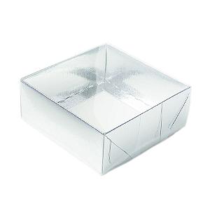 Caixa para 4 Doces com Tampa Transparente Nº 4 Prata - 8cm x 8cm x 3,5cm - 10 unidades Assk Rizzo Confeitaria