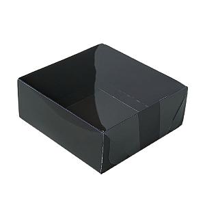 Caixa para 4 Doces com Tampa Transparente Nº 4 Preta - 8cm x 8cm x 3,5cm - 10 unidades Assk Rizzo Confeitaria