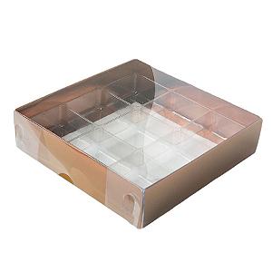 Caixa para 9 Doces com Berço Tampa Transparente Nº 6 Bronze - 11,5cm x 11,5cm x 3cm - 10 unidades Assk Rizzo Confeitaria