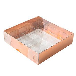 Caixa para 9 Doces com Berço Tampa Transparente Nº 6 Cobre - 11,5cm x 11,5cm x 3cm - 10 unidades Assk Rizzo Confeitaria