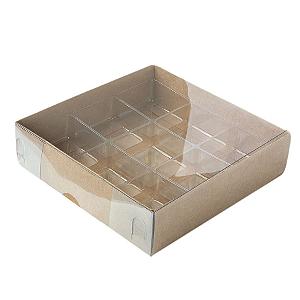 Caixa para 9 Doces com Berço Tampa Transparente Nº 6 Kraft - 11,5cm x 11,5cm x 3cm - 10 unidades Assk Rizzo Confeitaria