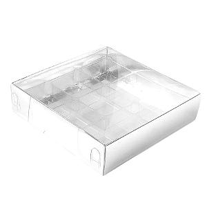 Caixa para 9 Doces com Berço Tampa Transparente Nº 6 Prata - 11,5cm x 11,5cm x 3cm - 10 unidades Assk Rizzo Confeitaria
