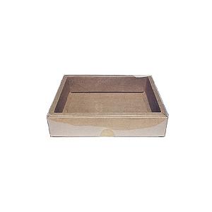 Caixa com Tampa Transparente PVC Nº 5 Kraft - 9cm x 12cm x 4cm - 10 unidades Assk Rizzo Confeitaria