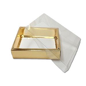 Caixa com Tampa Transparente PVC Nº 6 Dourada - 13cm x 13cm x 4cm - 10 unidades Assk Rizzo Confeitaria