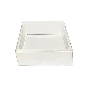 Caixa com Tampa Transparente PVC Nº 6 Branca - 15cm x 15cm x 4cm - 10 unidades Assk Rizzo Confeitaria