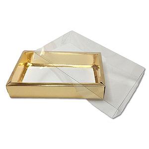Caixa com Tampa Transparente PVC Nº 7 Dourada - 15cm x 21cm x 3,5cm - 10 unidades Assk Rizzo Confeitaria