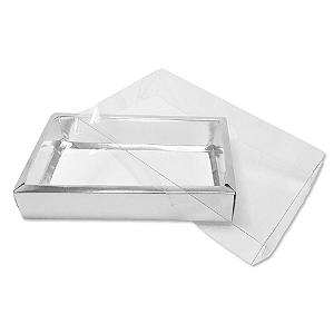 Caixa com Tampa Transparente PVC Nº 7 Prata - 15cm x 21cm x 3,5cm - 10 unidades Assk Rizzo Confeitaria