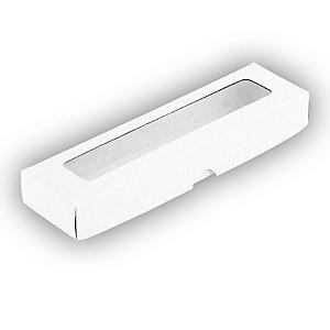 Caixa de Papel com Visor S00 (4cm x 15,5cm x 2cm) Branca 10 unidades Assk Rizzo Confeitaria