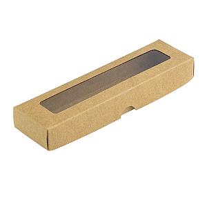 Caixa de Papel com Visor S00 (4cm x 15,5cm x 2cm) Kraft 10 unidades Assk Rizzo Confeitaria