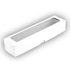 Caixa de Papel com Visor S13 (5,5cm x 23cm x 4cm) Branca 10 unidades Assk Rizzo Confeitaria