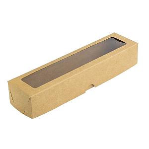 Caixa de Papel com Visor S13 (5,5cm x 23cm x 4cm) Kraft 10 unidades Assk Rizzo Confeitaria