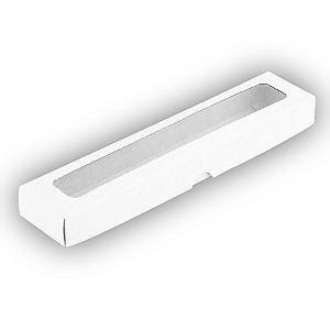 Caixa de Papel com Visor S14 (4cm x 19cm x 3cm) Branca 10 unidades Assk Rizzo Confeitaria