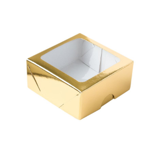 Caixa de Papel com Visor S16 (7cm x 7cm x 3cm) Dourada 10 unidades Assk Rizzo Confeitaria