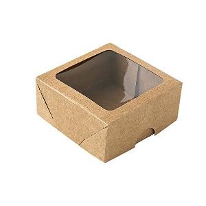 Caixa de Papel com Visor S16 (7cm x 7cm x 3cm) Kraft 10 unidades Assk Rizzo Confeitaria