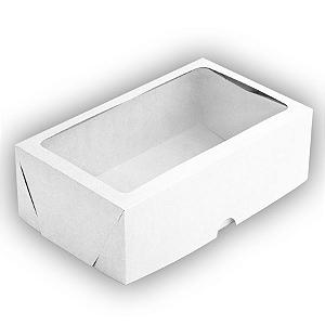 Caixa de Papel com Visor S17 (25cm x 15cm x 8cm) Branca 10 unidades Assk Rizzo Confeitaria