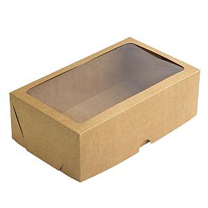 Caixa de Papel com Visor S17 (25cm x 15cm x 8cm) Kraft 10 unidades Assk Rizzo Confeitaria