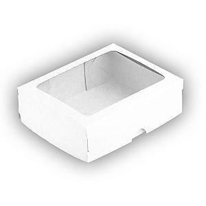 Caixa de Papel com Visor S18 (11,5cm x 15,5cm x 3,5cm) Branca 10 unidades Assk Rizzo Confeitaria