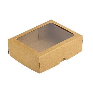 Caixa de Papel com Visor S18 (11,5cm x 15,5cm x 3,5cm) Kraft 10 unidades Assk Rizzo Confeitaria