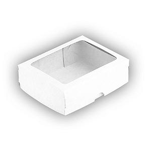 Caixa de Papel com Visor S19 (8,5cm x 12,5cm x 3,5cm) Branca 10 unidades Assk Rizzo Confeitaria